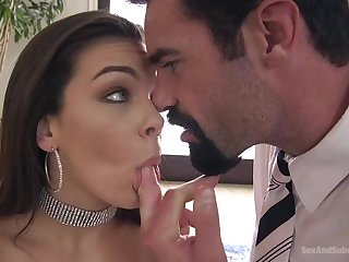Grinning dark-haired with chunky boobs, Kimber Forest got a chunky man sausage in her rump, because she needed that