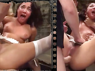 Messy stunner plowed xxx with five giant penises!