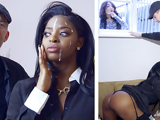Horny ebony realtor gets railed by a big-dicked white little shaver