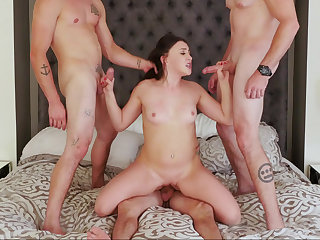 Hot foursome with a slutty young spoil