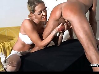 Mistress Gemma spanking together with milking me
