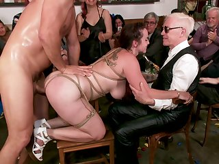 Buxom redhead MILF Bella Rossi pounded beside bondage beside front of people