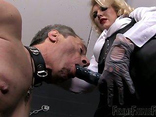 Dominant auburn slut Mistress Akella gonna use strapon everywhere punish toff