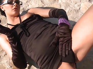 Euro gal in glasses and gloves is a sad cocksucker