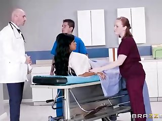 Buxom dark-hued woman with a adorable tat, Mary Jean is taking the brush doctor's massive man-meat, in his assignment