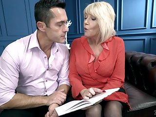 Mature blonde MILF Rosemary loves to get warm semen down her throat