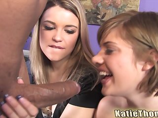 Haileey James and Katie Thomas swallow cum wide an interracial foursome