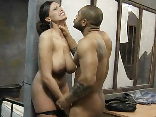 Big-dicked frowning prisoner fucks a kinky white lawyer
