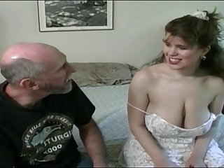 Tessa close to a old fart - big mammaries