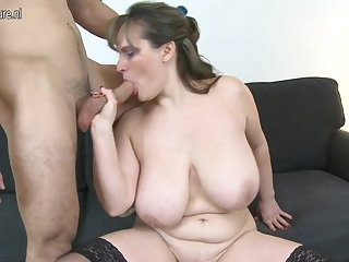 MOM with big saggy jugs fucks young brat