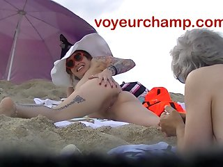 VoyeurChamp.com - Exhibitionist Wife Mrs Ginary Nude Beach!
