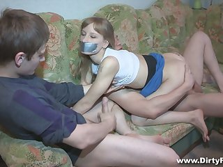 Pallid Freulein Sonja gets blindfolded and fucked doggy really apart from BF's buddy