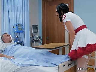 Hideous nurse in a miniskirt Jasmine Jae rides her patient to win well