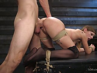 Tied at hand unconditionally bootyful Sydney Cole gets leaning over and fucked doggy