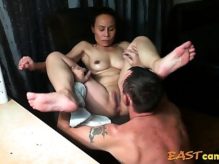 Asian girl get licked untill crest