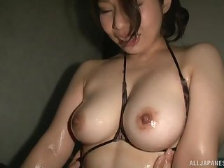 Minatsuki Chihiro makes her friend cum by a titjob and a blowjob