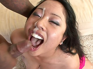 Asian unfocused jizzed on face corroboration a rough interracial