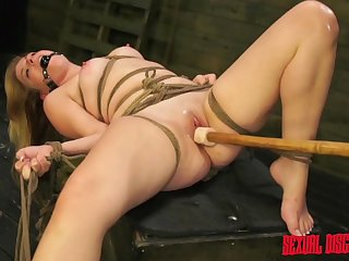 Tied and brave Lilly Ligotage gets her pussy pleased by friend's toys
