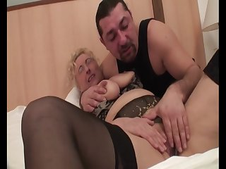 Hungarian Granny Sila - mature in lingerie in homemade porn with cumshot