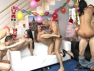 Hot anniversary for the wild whores craving for dicks