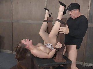 Slave latitudinarian Nora Riley in miniskirt fucked in her pussy and bore