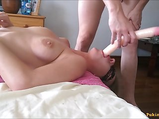 Most superbly Progressive Gagging deepthroating - Amateur MILF