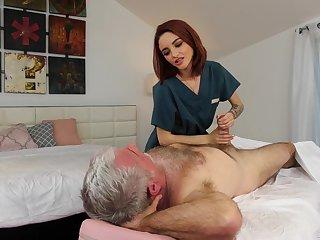 Pensioner enjoys fucking white-hot haired young masseuse Hanna Hayes