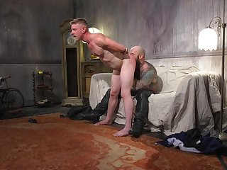BDSM hardcore gay sex during a job interview with a muscular guy