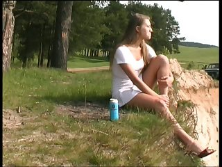 All alone slutty light haired bitch tapes the similar to one another she pisses outdoors