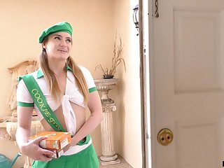 Lovely girl scout knows how to sell cookies and she fucks like a pornstar