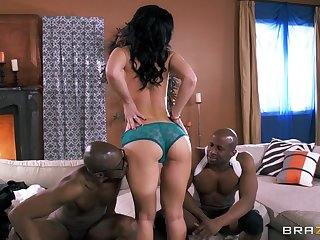 Two large black dicks drills enveloping three holes of Jayden Jaymes