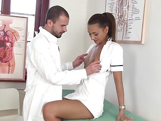 Sexy nurse Alexis Brill kisses her water down and gives super duper good BJ