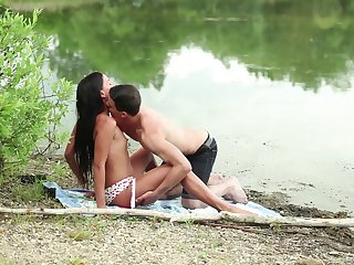 Savage teen tries lovemaking by the lake