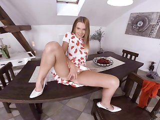 Sex-hungry pretty good Timea Bella is toying pussy on the cabinet