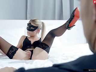 Erotic shacking up with provocative blonde babe Claudia Macc in stockings