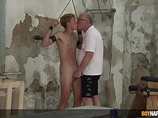 Amazing unconcealed BDSM around his old baffle be required of a complete delighted play