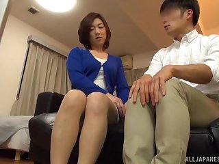 Passionate fucking on the bed up a small tits Japanese MILF